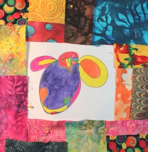 Colored Bird with Fabric Pattern Play