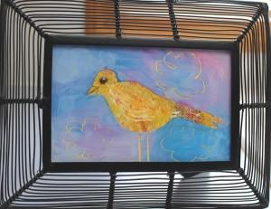 Bird in black frame