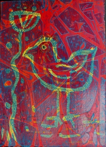 Drawing Gum Bird with acrylic paint & syran wrap on top