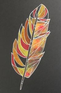 No. 67 - feather - gelli print, white gel pen, wax pastels