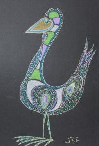 one liner bird with gold gel pen & prismacolor pencils