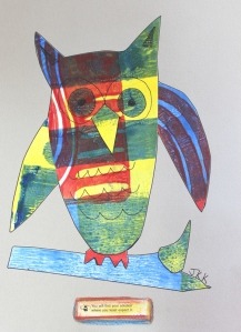 owl from gelli print