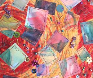 Beadwork on quilt