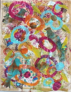 Bird collage with deli gelli-prints on canvas board