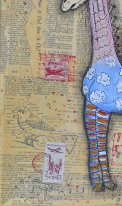 bird detail on giraffe collage