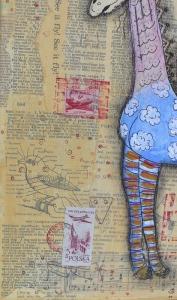 bird detail on giraffe collage