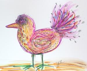 bird with black pen doodles