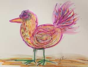 bird with markers and water