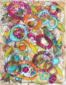 Completed gelli deli bird collage