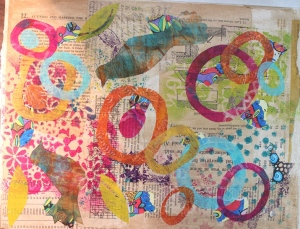 Step 4 - added gelli printed deli papers