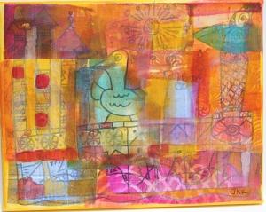 acrylic paint & gel medium painted over gelli deli paper
