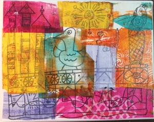 Canvas doodle covered with deli gelli-print paper