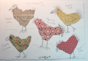 Chickens with scrapbook paper
