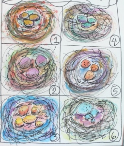 colorful bird nests from journal