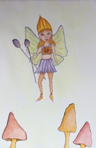 Fairy Daisy on her way to Violet's Birthday party - painted
