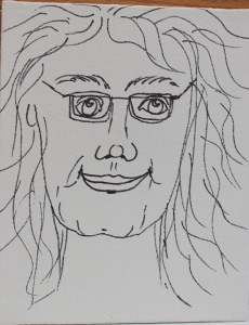 self portrait sketch on canvas board