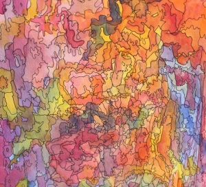 close-up of doodle like tree bark