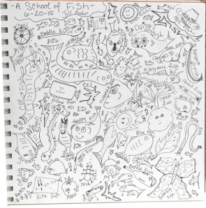 My school of fish doodles - before color