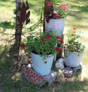 old buckets and flowers