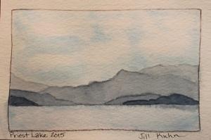 Postcard painting of lake