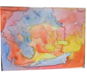 watercolor clouds - a map or anteater