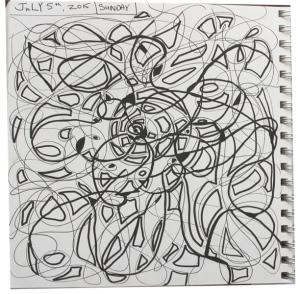 Ceiling fan inspired doodle in art journal