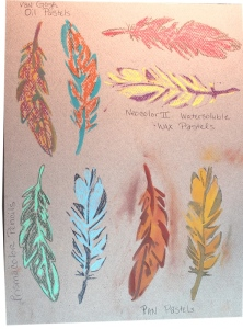 feathers - mixed media