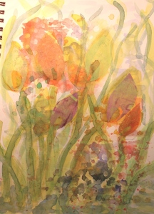 gelli prints added on some flowers - 4
