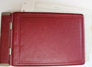 Hard covered ledger book
