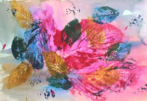 bright pink leaf print