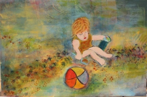 Little me on beach acrylic painting completed