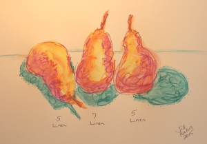3 haiku pears with wax pastels added