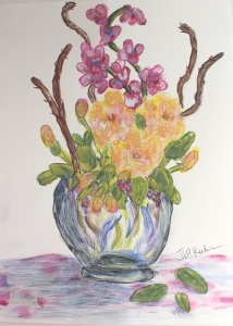 color pencils added to flower fingerpainting
