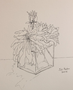 Dahlia sketched with black pen
