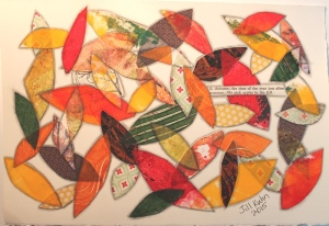 Fall leaves collage with gelli prints etc