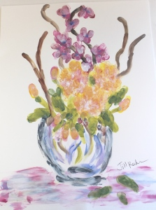 fingerpainting of peonies & orchids