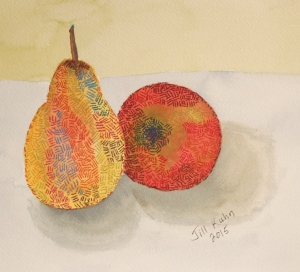 pear and apple with basket weave