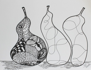 3 doodle pears - 1 done