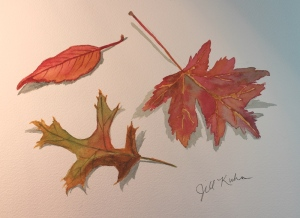 3 fall leaves