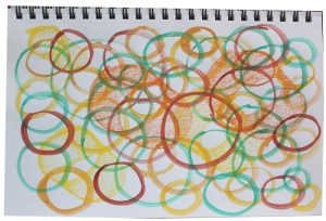 circles with soft pastels and watercolor