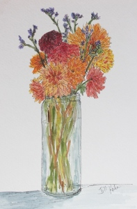 completed watercolor of flowers in vase