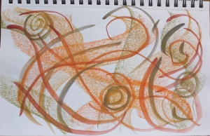 orange swirls with soft pastels and wc