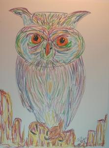Owl in neocolor - 1