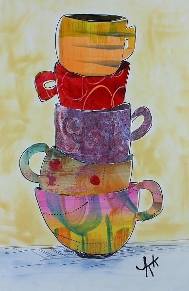 gelli printed paper cups
