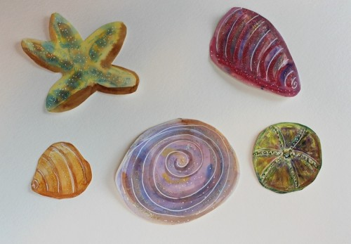 shells with glitter
