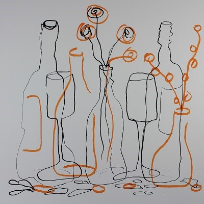 still life with orange pen added