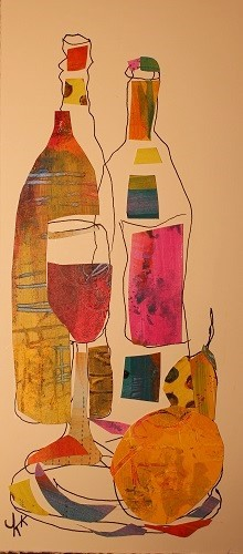 wine bottle collage with papers