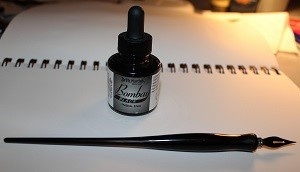 ink and dip pen